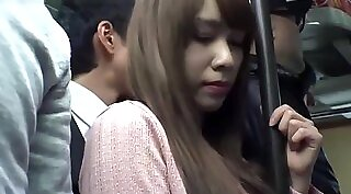 adorable Japanese gal shows sexy body and gives bus men everything