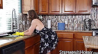 Busty Mom Masturbate in Kitchen