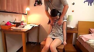 Cute asian rubs hot booty schoolgirl stepdad