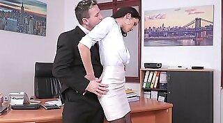 Office secretary with her legs spread wide