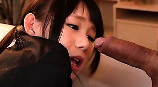 Appealingly japanese schoolgirl face fucked by four horny guys