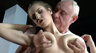 Pervert squirter blows big guy