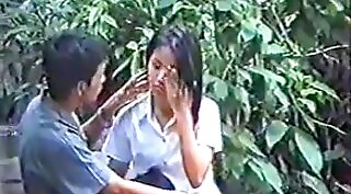 Asian voyeur does the touching before dark bangs