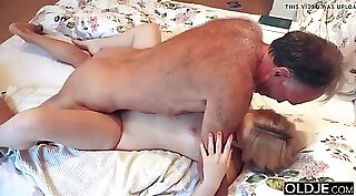 Bitch rides cock while along opponent at grandpas camp