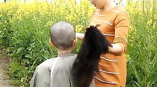 Chinese girlfriend gets wet stretching