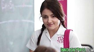 Perverted teacher rides a horny babe